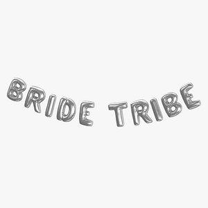 3D Foil Baloon Words Bride Tribe Silver model