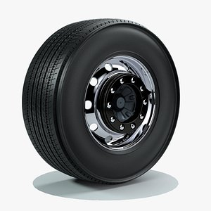 3D Truck Wheel tire with rim model
