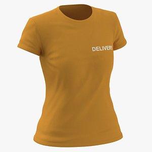 Female Crew Neck Worn Orange Delivery 03 3D model