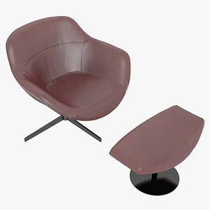 3D Cassina 277-22 Auckland Arm Chair and 277-42 Auckland Ottoman Red Leather Black Body
