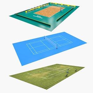 Three Sports Fields 3D model