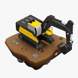 3D model cartoony excavator