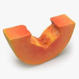 Papaya Slice Without Seeds 3D