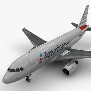 3D model AirbusA319-100AMERICAN AirlinesL1395