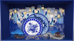 3D Blue and white porcelain Jiangnan landscape DP point poster poetic ancient style national style scen model