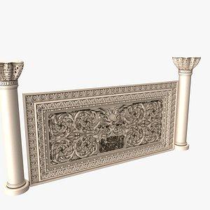 3D gothic Romancolumns and ornament set model