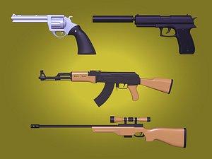 revolver gun sniper 3D