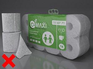 toilet paper pvc package 3D