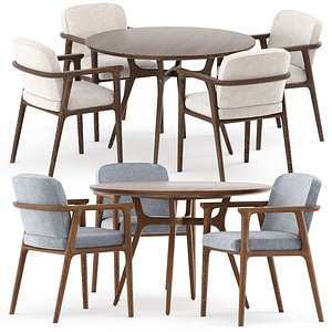 REN DINING TABLE C1100 and Zio Dining Chair 3D model