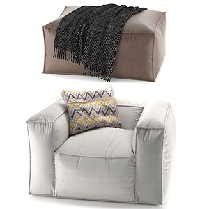 chair tavola pouf 3D model