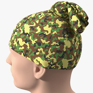 3D Neck Gaiter weared on Head Camo