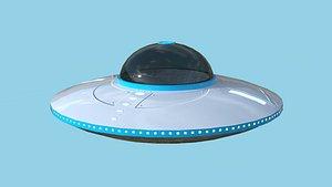 3D Spaceship UFO B3 - White Blue - Alien SciFi Vehicle