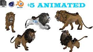 3D Lion Animated 3D model