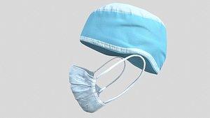 3D Medical mask and cap Medic Doctor model