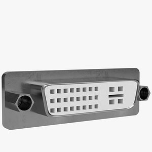 3d dvi panel mount connector model