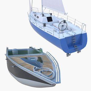 3D Sailboat and Motorboat