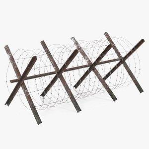3D razor wire coil barrier model