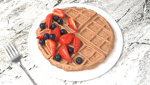 3D Waffle with sliced strawberry and blueberry