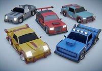 customizable race car Low-poly