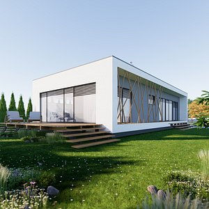 3D model Bungalow 5 - Created with fully parametric Revit Families