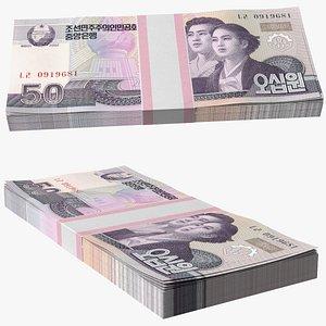 3D model North Korea 50 Won Banknotes Pack