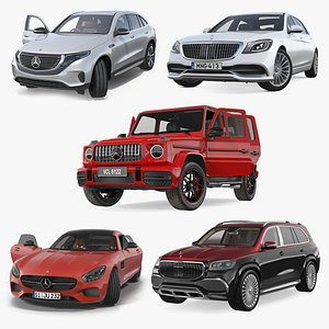 3D Mercedes Benz Cars Rigged Collection 2 model