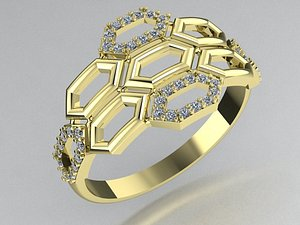 3D stylish ring honeycomb model