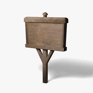 3D Wooden Sign Old model