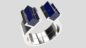 silver ring blue lapis 3D model