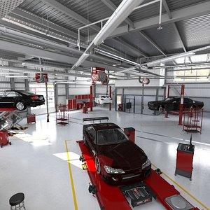 3D car service model