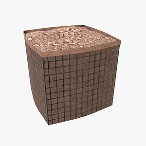 Military Hesco Barrier PBR Low Poly Game Ready 3D model