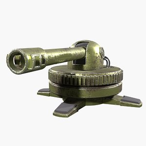 Turret Gun Turnable Rigged Green Low-Poly for Games 3D