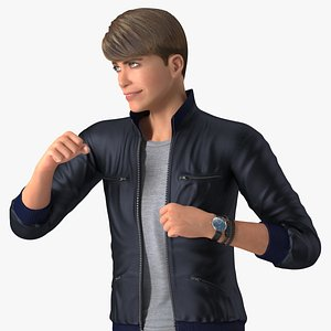 3D Teenage Boy Street Clothes Action Pose