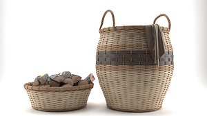 Basket With Wood 3D