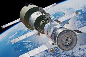 3D salyut space station model