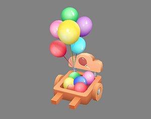 3D Cartoon Balloon Booth - Wooden Rickshaw