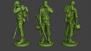 3D model soldier ww2 crying american