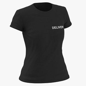 3D Female Crew Neck Worn Black Delivery 02 model