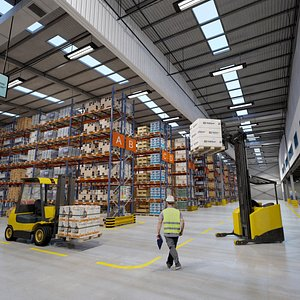Full Warehouse with Forklifts 3D