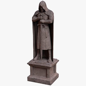 ancient sandstone statue knight 3D model