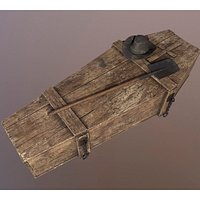 Wild West Wooden coffin Shovel and Hat