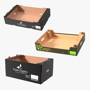 Fruit and Vegetables Packaging Cardboards Collection 3D