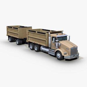 t800 dump truck trailer 3D model