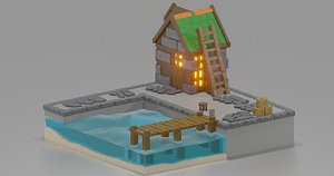 3D low poly medieval port