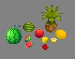 3D fruit lemon watermelon