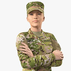 female soldier military camo 3D model
