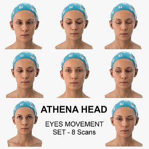 Athena Clean Scans Eyes Movement Set - 8 poses Collection 3D model