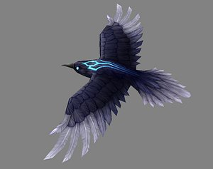 Cartoon Crow - Raven - Black Bird Monster 3D