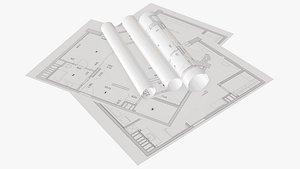 sheet scroll paper 3D