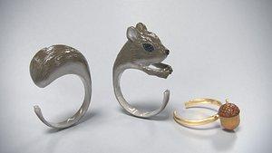 3D squirrel acorn ring